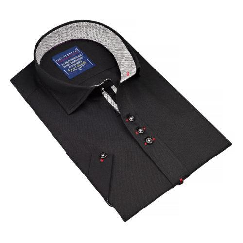 Čierna košeľa - klasický golier, krátky rukáv