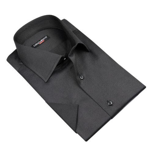 Schwarzes Hemd - Kentkragen, kurzen Ärmel