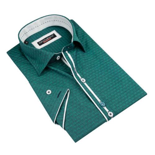 Tmavozelená košeľa - klasický golier, krátky rukáv bavlna
