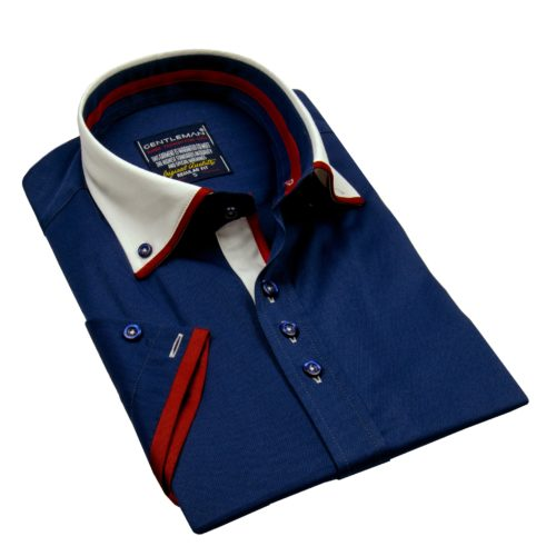 Tmavomodrá košeľa - klasický golier, krátky rukáv